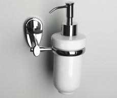 Seifenspender Keramik weiß mit Wandhalter